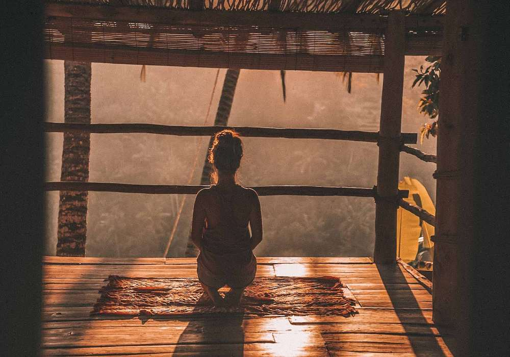 meditating woman mindful steward